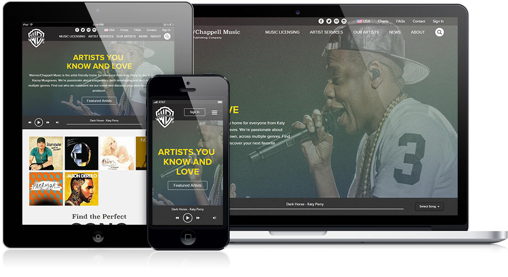 Warner/Chappell Music Responsive Website